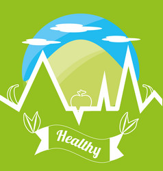 Cute healthy lifestyle logotype with mountain and vector