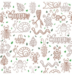 Cute seamless patterns with insects and leaves vector image