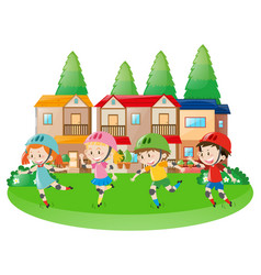 four children rollerskating in neighborhood vector image vector image