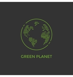 Green planet line vector image
