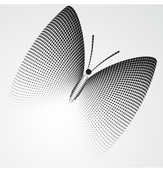 Halftone Butterfly Black and White Abstract Figure vector image