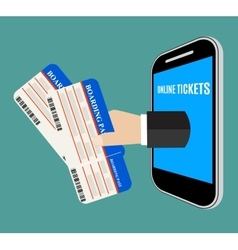 Hand coming out of the smartphone with ticket vector image vector image