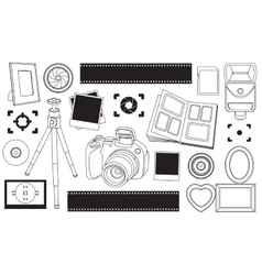 Hand drawn set of photography vector image