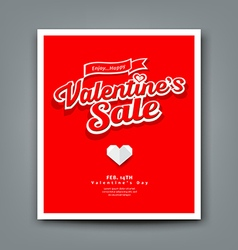 Happy Valentines day sale on red background vector image vector image