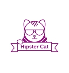 Hipster cat in sunglasses outline logotype vector