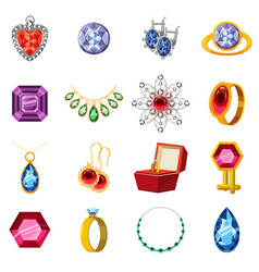 Jewelry collection icons set cartoon style vector