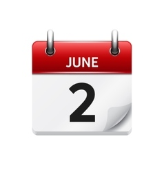 June 2 flat daily calendar icon Date and vector image