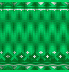 knitted seamless green christmas pattern with vector image