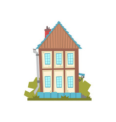 old two storey house retro architecture building vector image