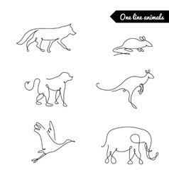 One line animals set logos stock vector image vector image