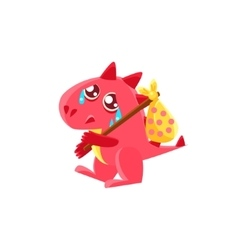 Red dragon leaving with sack on stick vector