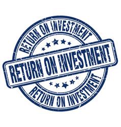 Return on investment blue grunge stamp vector