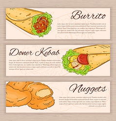 set of hand drawn fast food banners with donner vector image vector image