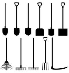 set of icons of shovels rakes fork scythe vector image