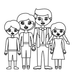 Sketch silhouette family group in casual suit vector