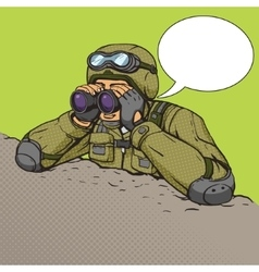Soldier looks through binoculars from the trenches vector
