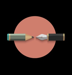 Stylized pencil and writing pen variation 4 vector