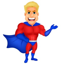 Superhero cartoon presenting vector image vector image