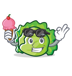 With ice cream lettuce character cartoon style vector