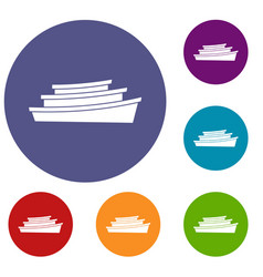wooden boat icons set vector image