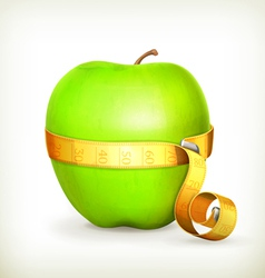 Tape measurement and green apple vector image