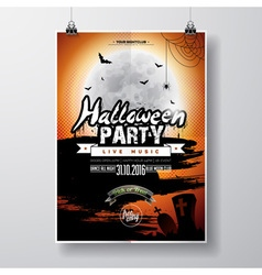 Halloween party flyer design with graves and moon vector