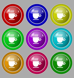 Coffee cup sign symbol on nine round colourful vector