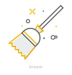 Thin line icons Broom vector image