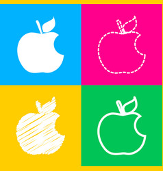 Bite apple sign four styles of icon on four color vector