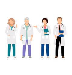 doctor and nurses in white coats vector image