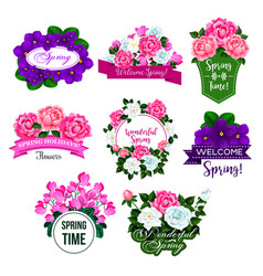 Spring flower frame icon with rose crocus peony vector