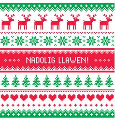 Nadolig llawen - merry christmas in welsh greeting vector
