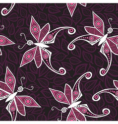 Seamless pattern with butterfly and leaves you can vector