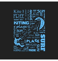 Surfer t-shirt graphics with kite poster vector