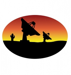 Satellite dish desert vector