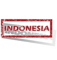 Indonesia outlined stamp vector