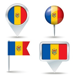 Map pins with flag of moldova vector
