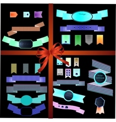 Set of retro ribbons old vector