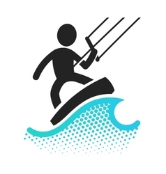 Kite boarding icon vector