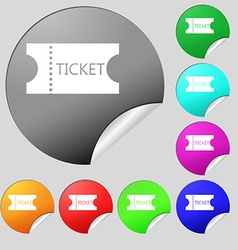 Ticket icon sign set of eight multi colored round vector