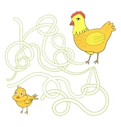 Labyrinth maze find a way chicken hen vector