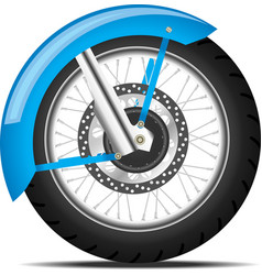 Black motorbike wheel vector