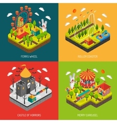 Attraction park 4 isometric icons square vector