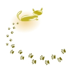 Golden cat and his footprints eps10 vector