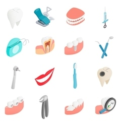 Dental set icons isometric 3d style vector