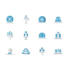 Flat design fountains architecture icons vector