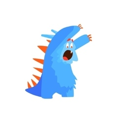 Furry childish monster chasing vector