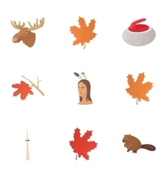 Attractions of canada icons set cartoon style vector