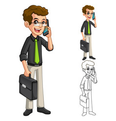 Businessman geek with glasses holding smart phone vector
