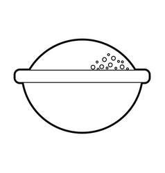 Cartoon bowl with flour ingredient bakery and vector